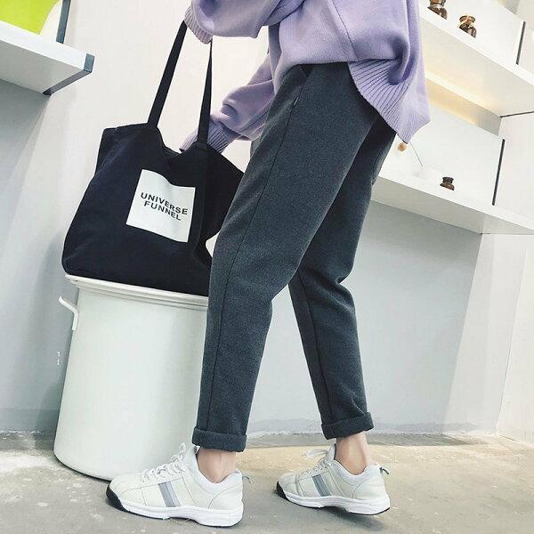 FINDSENSEG6秋冬潮男加厚寬鬆纯色舒适休閒褲長褲