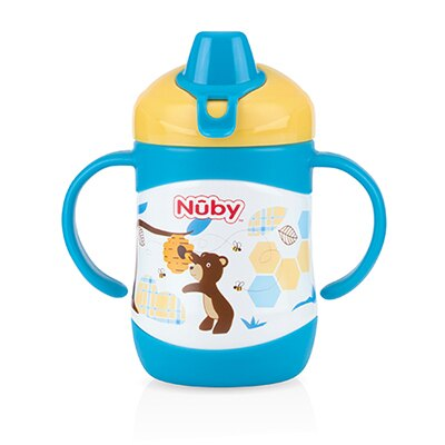 【悅兒樂婦幼用品?】Nuby不銹鋼真空雙耳把手學習杯-鴨嘴(220ml)-藍熊