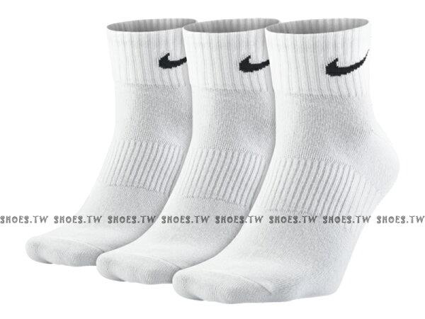 Shoestw【SX4706-101】NIKELightweightQuarter運動襪襪子短襪白色三雙一組兩種尺寸