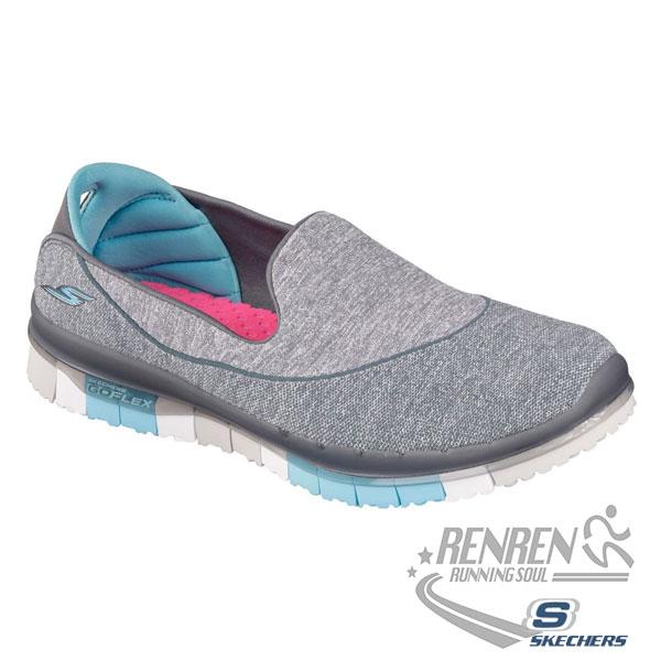 SKECHERS 女健走系列 (灰*淺藍底) GO FLEX WALK  瑜珈鞋墊 懶人鞋