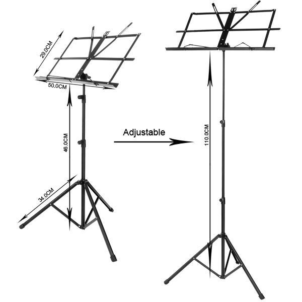 Adjustable Folding Music Stand Metal Sheet Tripod Holder With Carrying Bag 4