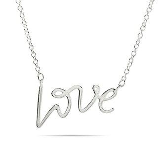美國百分百【全新真品】Tiffany & Co. 項鍊 純銀 吊飾 專櫃 配件 情人節 LOVE 字母款 C666