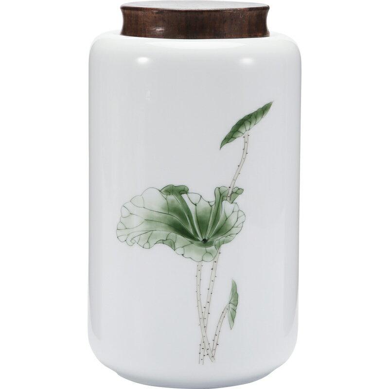 晟窯純手繪大號德化白瓷茶葉罐家用花茶普洱密封罐存儲防潮罐陶瓷