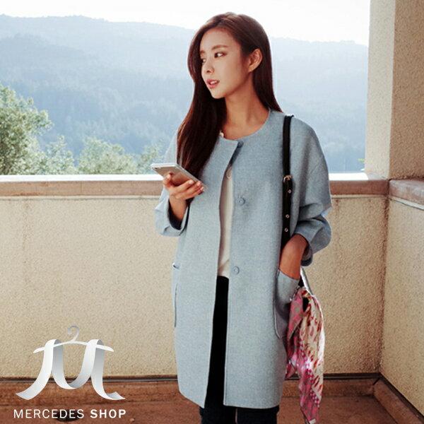 梅西蒂絲Mercedes Shop:《全店75折》韓系棉麻中長款亞麻廓形暗扣外套(S-XL)-梅西蒂絲(現貨+預購)