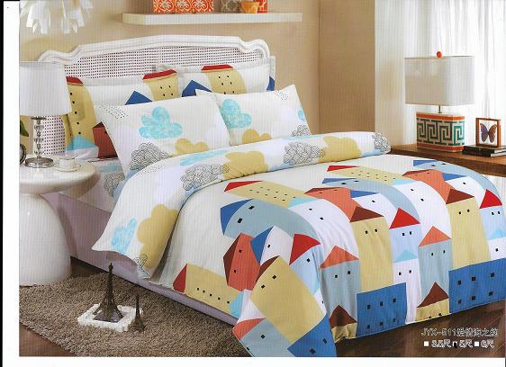 活性纖維雙人三件式床包+枕頭套*2(愛情海之約)