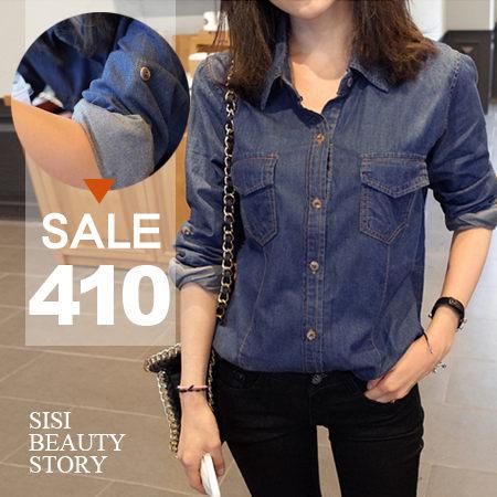 SiSi Girl:SISI【L5060】個性Der女孩兒翻領薄款單寧牛仔襯衫上衣丹寧顯瘦罩衫外套