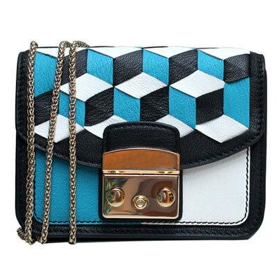 Outlet代購 歐美 FURLA 爆款塗鴉系列 藍色魔方 單肩小方包 單肩包 斜跨包 跑趴 多色可選