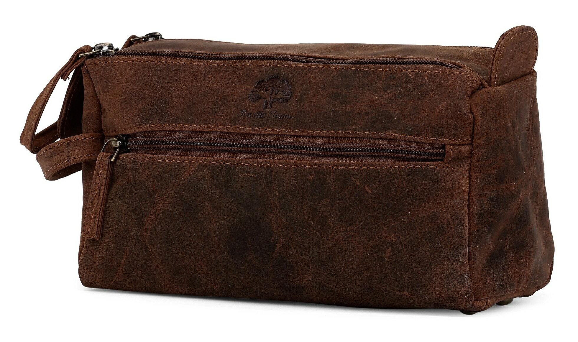 Genuine Leather Travel Toiletry Bag - Hygiene Organizer Dopp Kit By Rustic  Town (Dark Brown 3ea6610312ba8