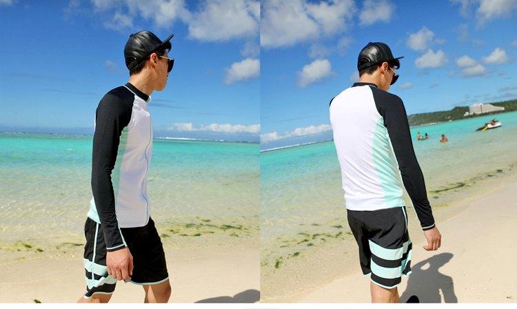 男泳裝 條紋 沙灘 運動 防曬 外套 兩件套 男 長袖 泳裝【SFM2109】 BOBI  05 / 17 7