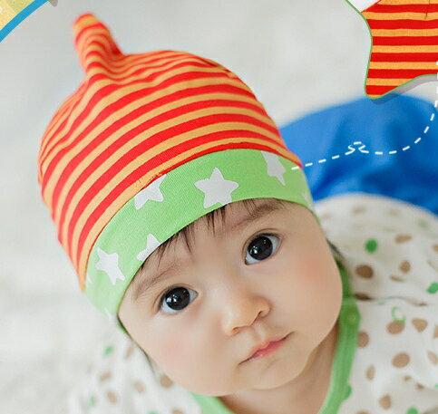 Lemonkid◆ 小星星條紋舒適彈性可愛尖角 兒童套頭帽~橘色