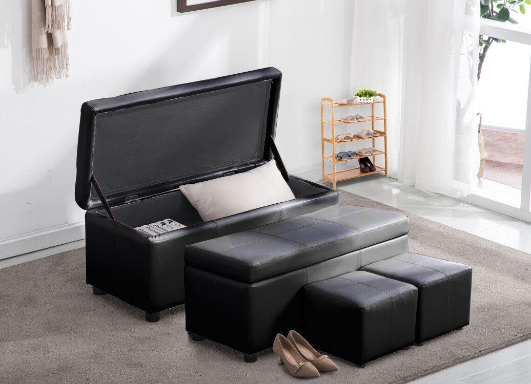 Mcombo 4pc Black Faux Leather 48 Storage Ottoman Foot Rest Sofa Shoe Bench