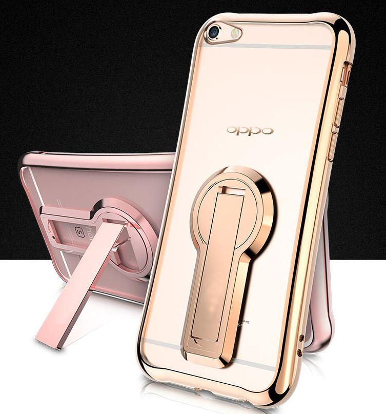 OPPO R9S PLUS 電鍍 支架 透明 6吋 保護軟套 手機殼
