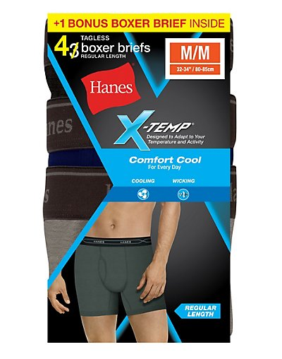 1fbf199007c Hanesbrands  Hanes Men s FreshIQ X-Temp Comfort Cool Boxer Brief 4 ...