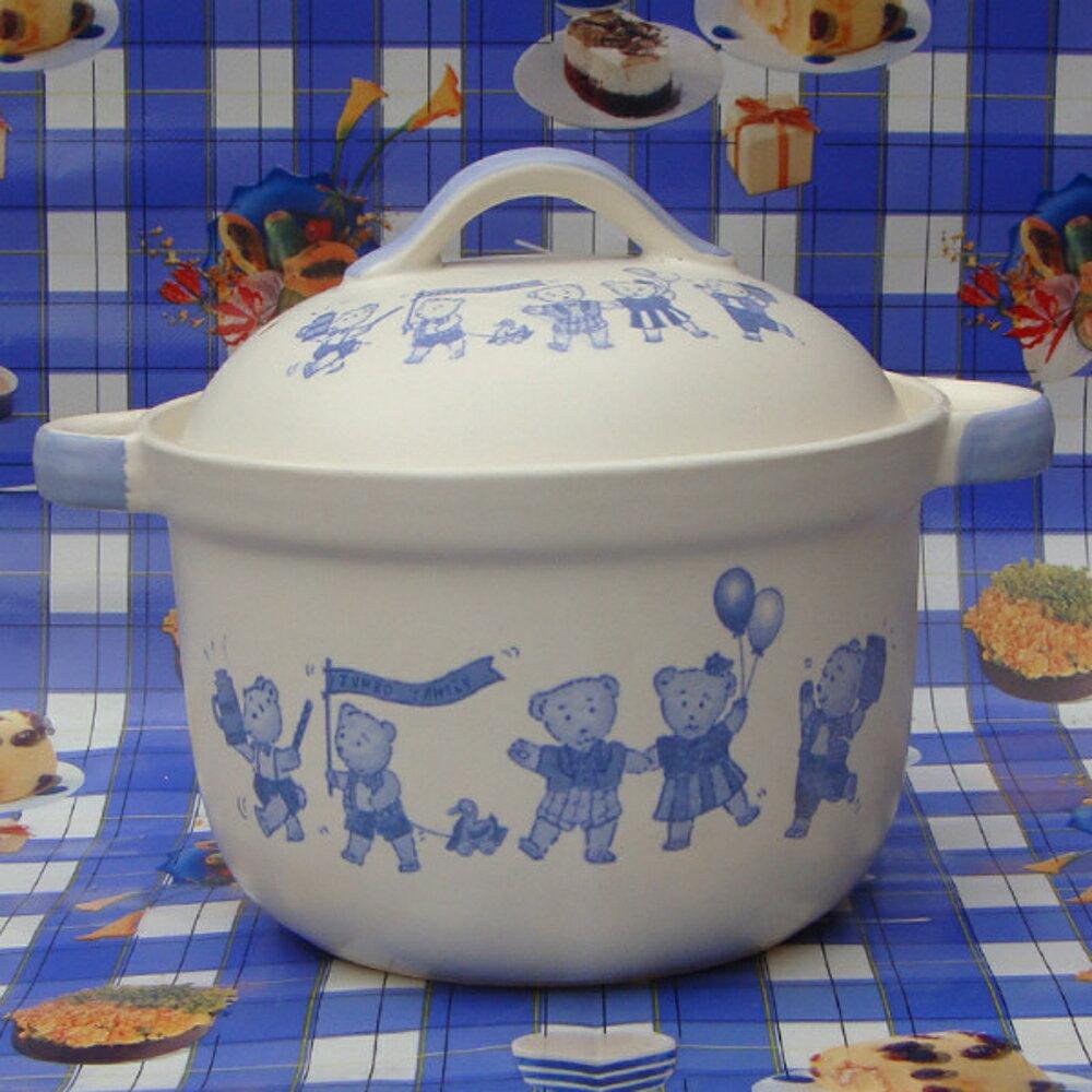 平底鍋 景德鎮珍寶湯煲砂鍋卡通小熊直筒耐熱寶寶瓷鍋湯鍋燉鍋陶瓷煲 mks 阿薩布魯