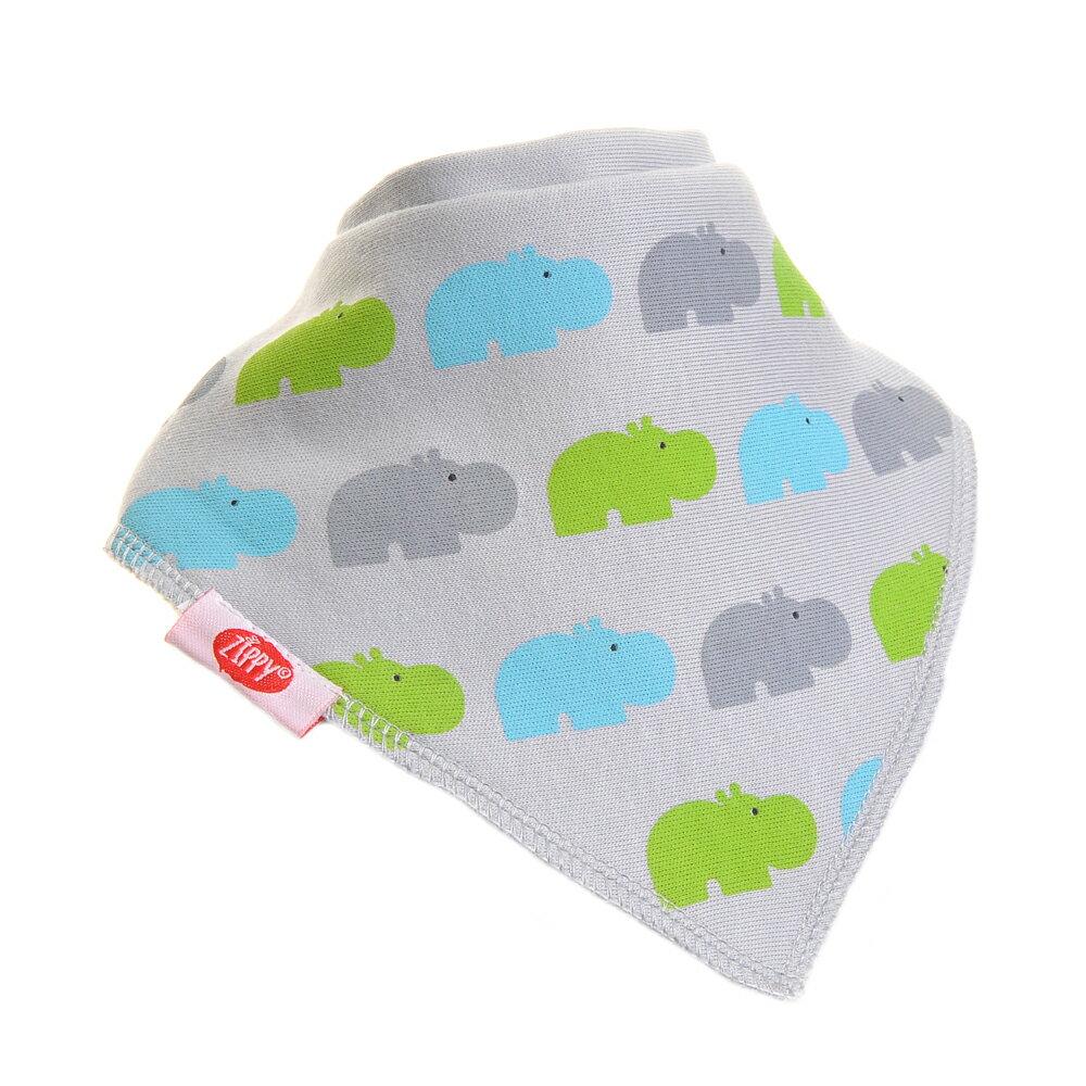 英國ZIPPY 幼兒時尚口水巾單入 (河馬灰)