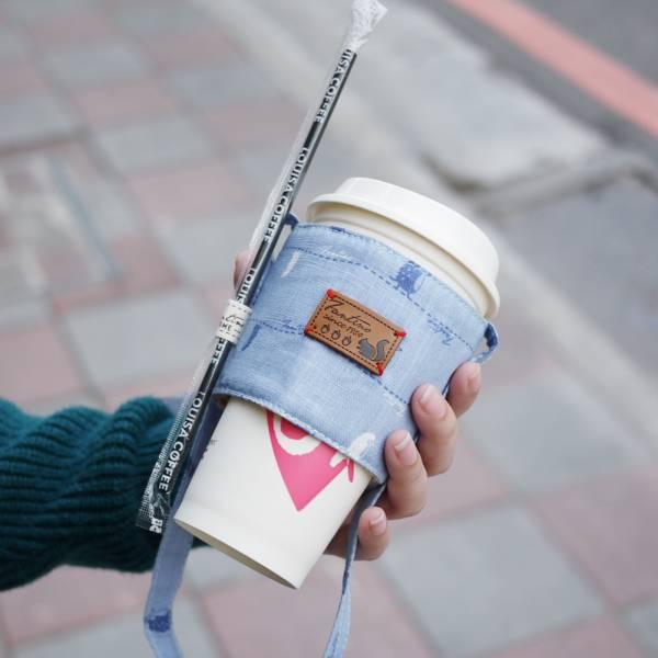 【FANTINO】雙層隔熱環保飲料提袋  杯套 杯袋 手搖杯套 咖啡杯套 ( 漫步一線間) 天空藍1769949