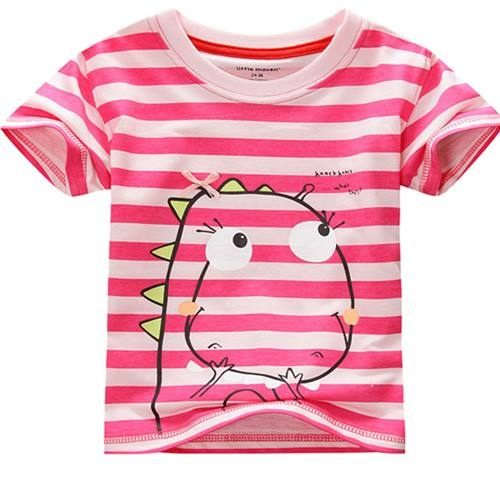 童短袖T恤 夏季女童小恐龍條紋T恤