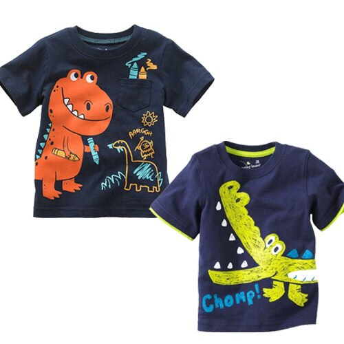 T恤上衣 夏款男女童恐龍鱷魚塗鴉風短袖上衣