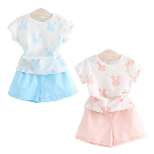 套裝 夏款女童繽紛小兔子印花卡通涼爽套裝 ~  好康折扣