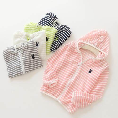 童防曬衣 男女童小兔子條紋防曬空調薄長袖外套