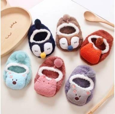 韓國秋冬珊瑚絨卡通防滑襪