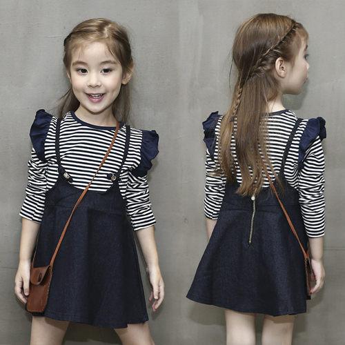 長袖洋裝  長袖洋裝 女童荷葉邊條紋T恤+牛仔背帶裙W67012