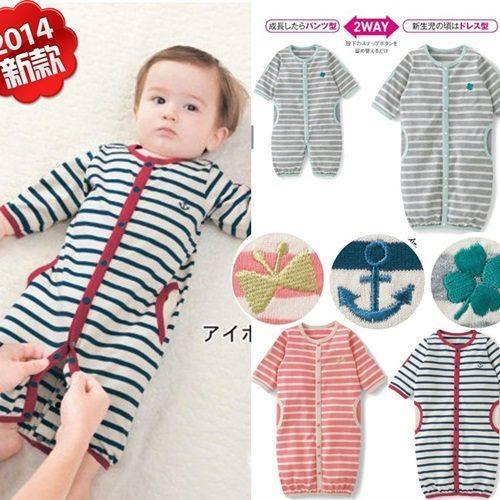 長袖連身兔裝 秋冬寶寶嬰兒純棉條紋爬服(可當睡袋)W61016