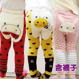 童長褲 韓版男女寶寶可愛卡通純棉舒是彈力褲(含襪子)