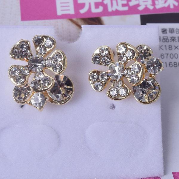 R89 傑克鑽 耳環 簡單時尚 璀璨 鑲 鑽 大方 簡約 耳環 一對 50元 超便宜