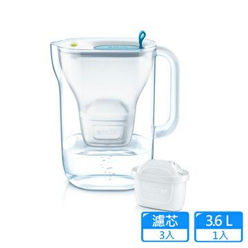 【德國BRITA】STYLE濾水壺(藍)3.6L+MAXTRAPLUS濾芯2入