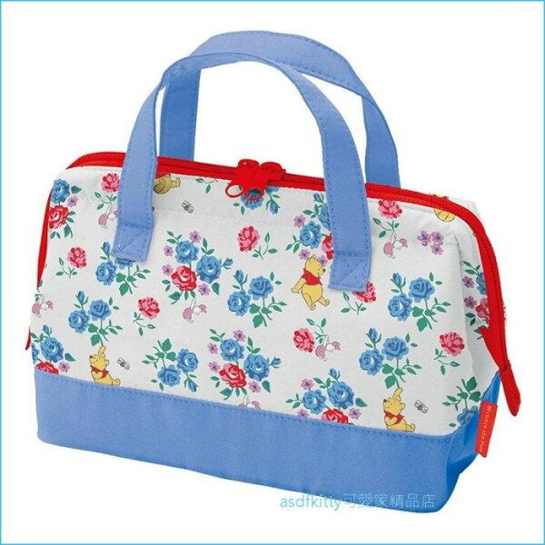 asdfkitty可愛家☆小熊維尼藍色小花寬口拉鍊輕量保溫便當袋手提袋購物袋-日本正版商品