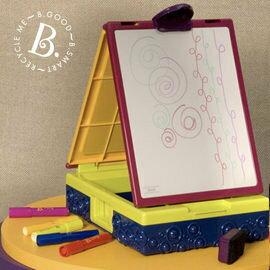 【淘氣寶寶】【美國B.Toys感統玩具】 沃客旅行小畫架.攜帶式畫畫箱