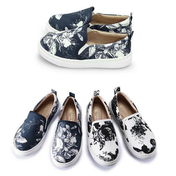 【Mystyle】富發牌3BD04童鞋,復刻花懶人鞋(黑花.藍花)15-21號-任兩雙免運
