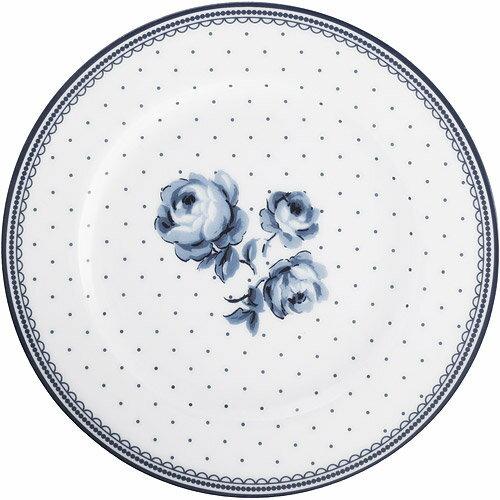 《CreativeTops》Katie復古藍淺餐盤(圓點白19cm)