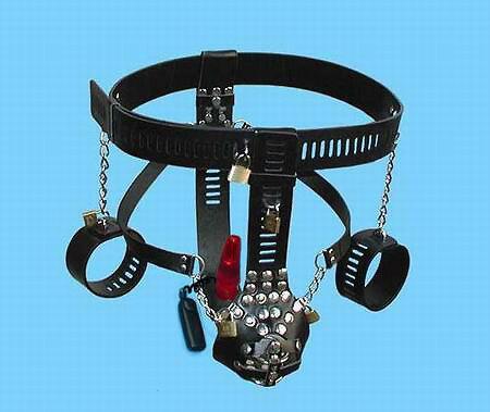 [漫朵拉情趣用品]男用貞操帶+手拷.振動肛栓 DM-9241718