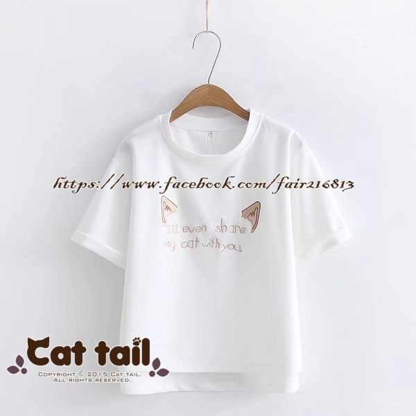 《貓尾巴》TS-0746日系貓耳刺繡短袖上衣(森林系日系棉麻文青清新)