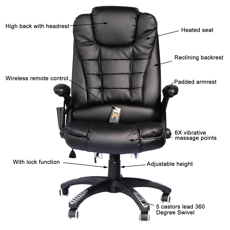 Homcom High Back Executive Ergonomic Pu Leather Heated Vibrating Mage Office Chair Black 1