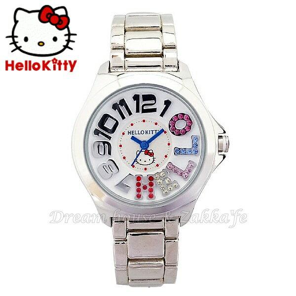 日本限定 三麗鷗 Hello Kitty 手錶 / 手表 《 彩鑽 銀 》★ Zakka'fe ★ - 限時優惠好康折扣