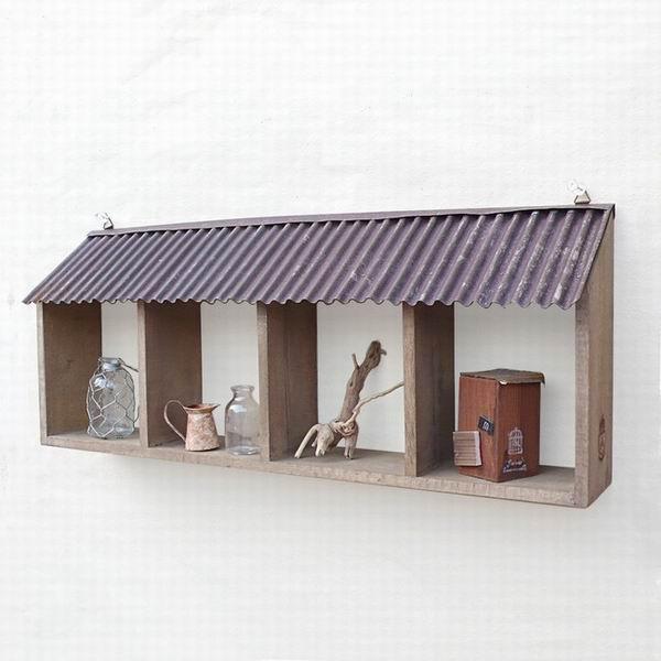 鄉村風日系Zakka原木鐵皮屋簷四格展示架/壁架 《可擺放也可吊掛喔》 ★很可愛喔★《日本原裝進口》