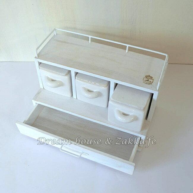 日本 azi-azi 鄉村風 Zakka 原木生活 廚房 雙層3盒一抽 調味料架 / 收納架  《日本原裝進口》 ★Zakka'fe 2