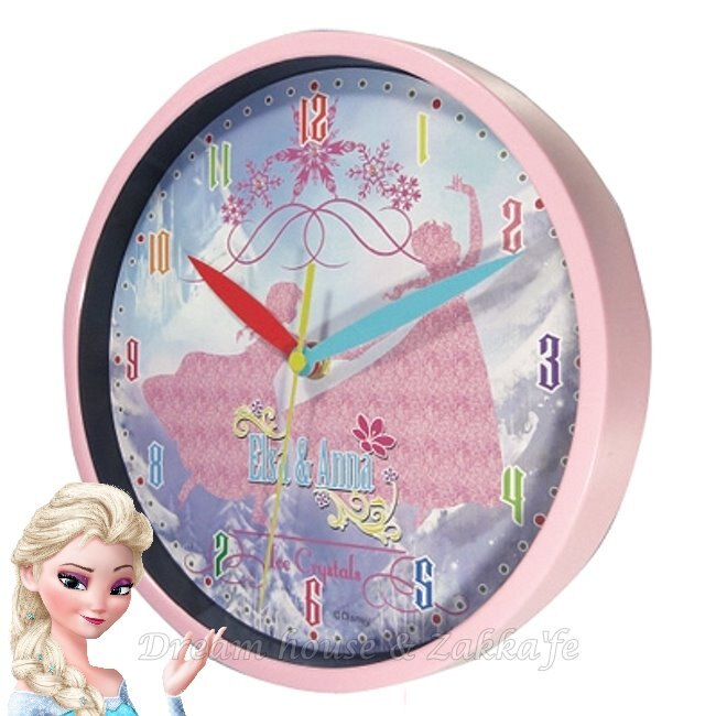 日本正版 Disney 迪士尼 冰雪奇緣 安娜/艾莎 圓形掛鐘/時鐘 ★ Zakka'fe ★