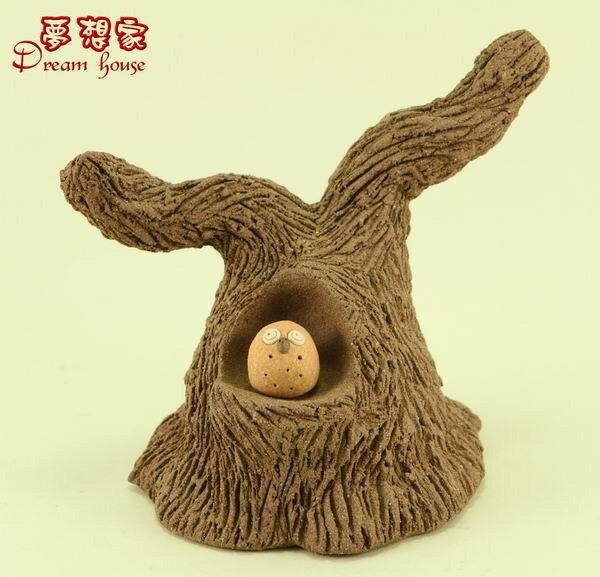 超可愛樹洞與小湯圓貓頭鷹【L】《可與荷蘭娃娃搭配喔》★台灣設計純手工捏製★手作陶製品