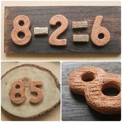 超可愛陶製數字造型餅乾磚★台灣設計純手工捏製★手作陶製品