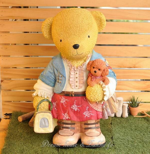 超大可愛小熊與紅貴賓存錢筒/撲滿 ★實用漂亮★