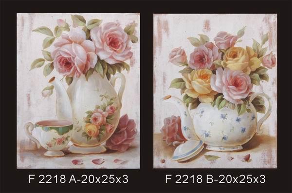 木製鄉村花瓶玫瑰畫《2款一組》★質感很棒★ - 限時優惠好康折扣