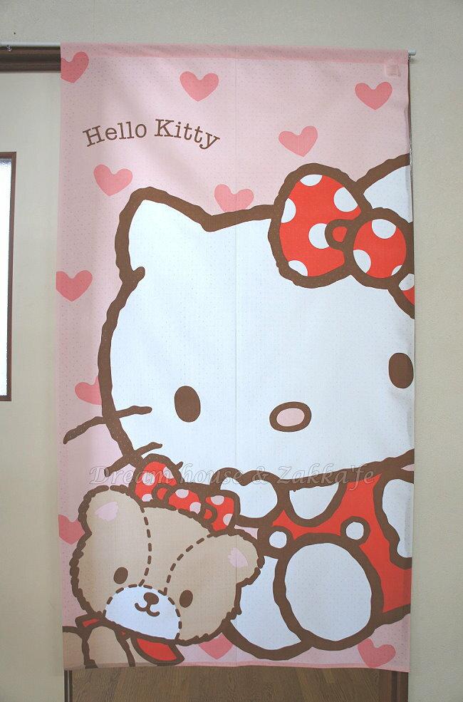 正版三麗鷗 Sanrio 凱蒂貓 KITTY 透光門簾 / 暖簾 85x150cm 《 日本製 》★ Zakka'fe ★ - 限時優惠好康折扣