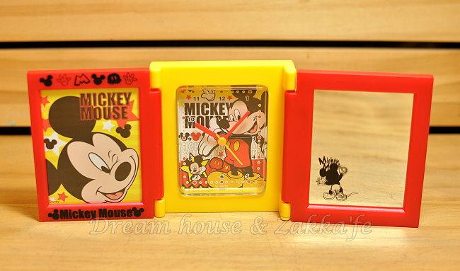 日本正版 Disney 迪士尼 多功能摺疊鏡子/鬧鐘/相框《 米奇 》★ 超可愛喔 ★ Zakka\
