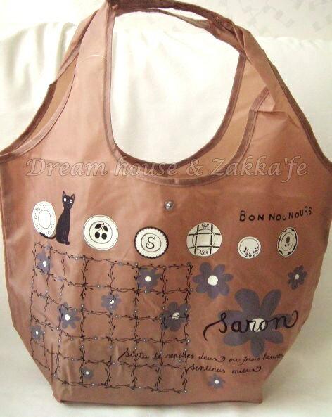 日本進口 戶崎尚美 可摺疊收納環保購物袋 《 貓咪 / 花 咖啡色 》★ Zakka'fe ★ 0