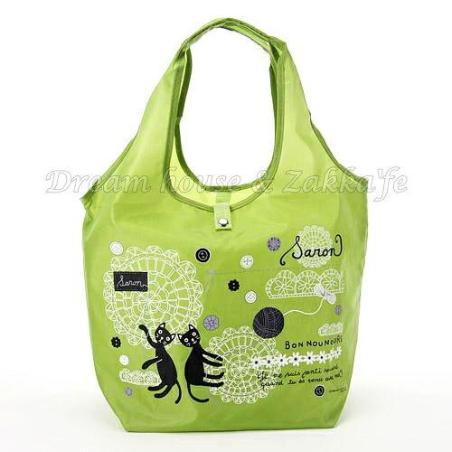 日本進口 戶崎尚美 可摺疊收納環保購物袋 《 貓咪 / 刺繡 綠色 》★ Zakka'fe ★ - 限時優惠好康折扣