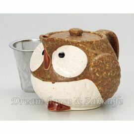日本製 陶瓷 貓頭鷹造型 茶壺/茶器 黃 450cc《 附不鏽鋼濾網 》★ Zakka'fe ★